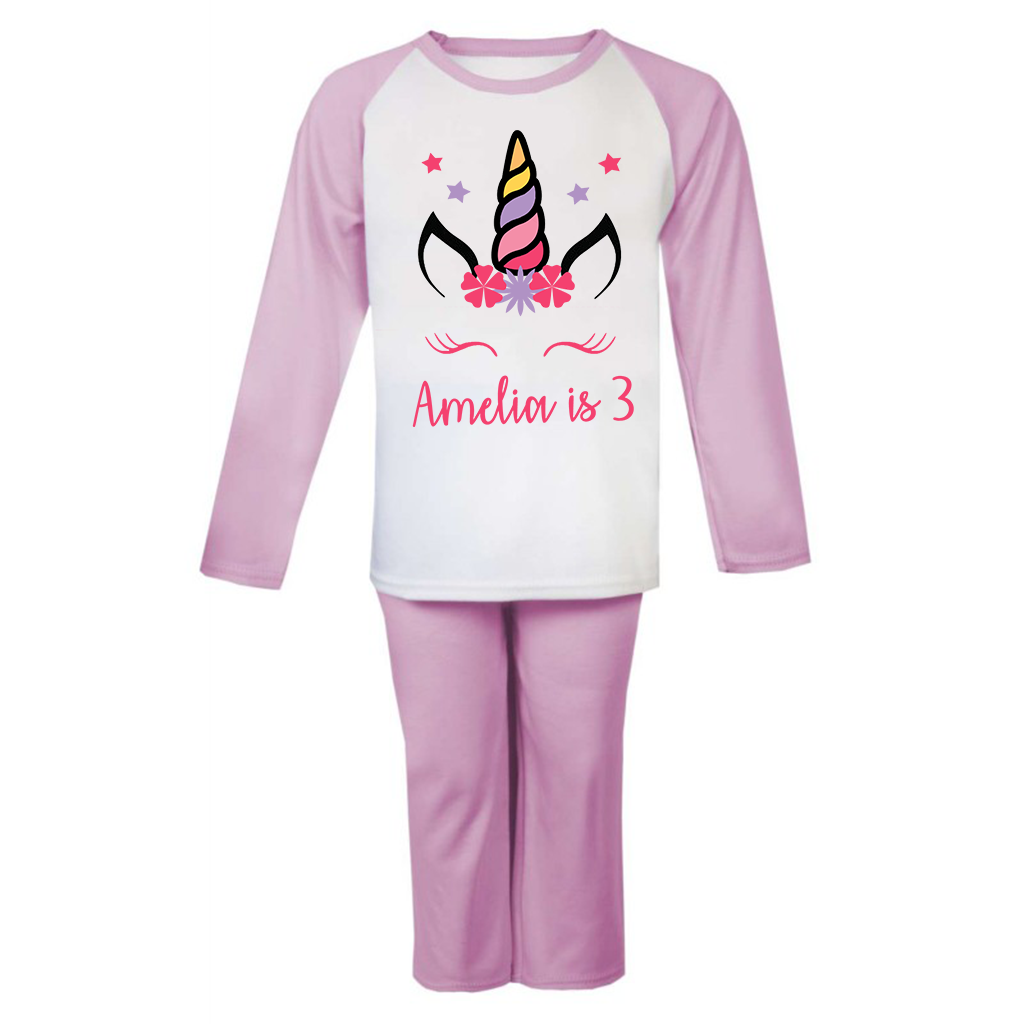 Personalised Unicorn Birthday Pjs Kids Pyjamas ANY NAME AND AGE Birthday Girl 2