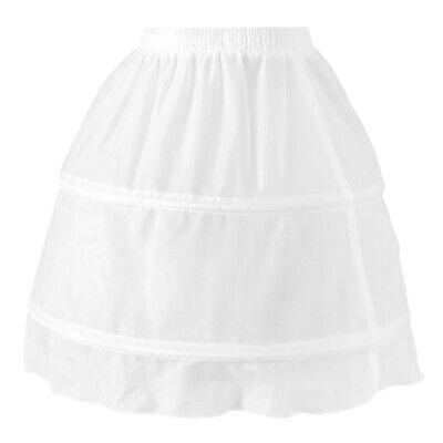 Girls 2 Hoop Tulle Wedding Flower Girl Short Chiffon Petticoat Underskirt 3