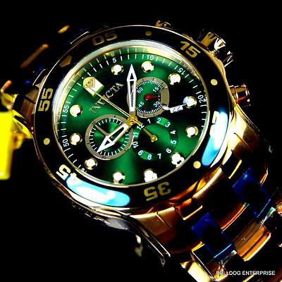 Mens Invicta Pro Diver Scuba 18kt Gold Plated Chronograph Green 48mm Watch New 3