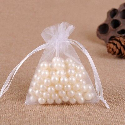 20 50X Small White Organza Bags Wedding Favours Pouches Net Jewellery Bag 3