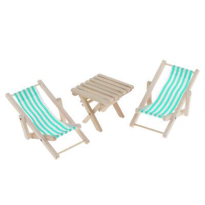 1:6 Dollhouse Miniature Blue Stripe Beach Chair & Table Set Life Scene Decor 3