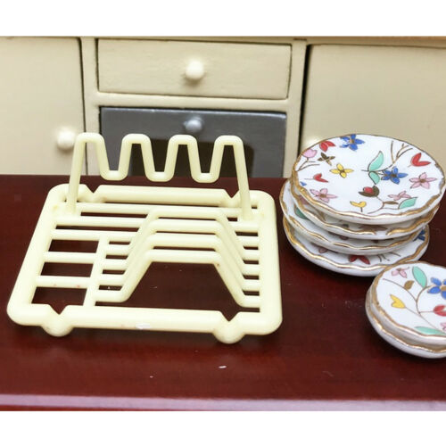1/12 Dollhouse Miniature Dish Rack Holder Kitchen Tableware Room Accessory 7