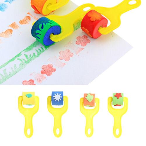 4Pcs Children Sponge Roller Stamper Foam Paint DIY Crafts Stamps Kids EVA Toys