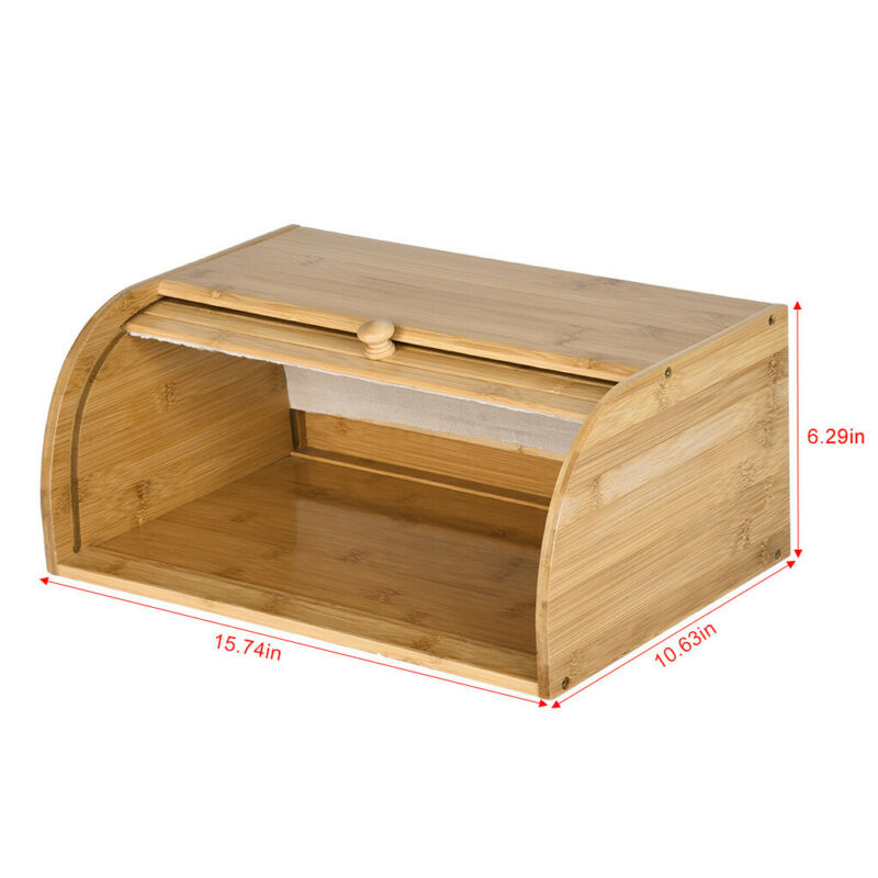 Roll Top Bamboo Wood Bread Box Loaf Container Kitchen Food Storage Bin Large US 6