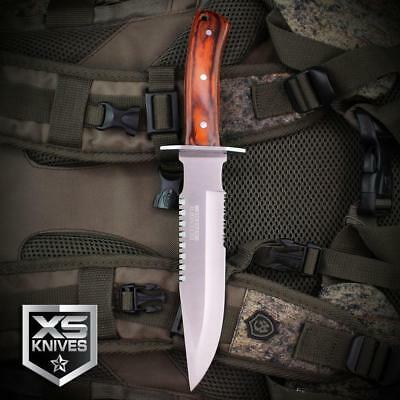 5PC Set Combat SURVIVAL Hunting Tactical BOWIE Wood Fixed Blade FULL TANG Knife 4