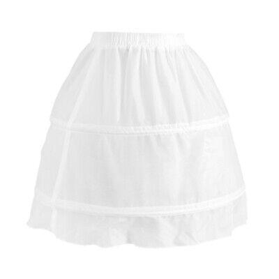 Girls 2 Hoop Tulle Wedding Flower Girl Short Chiffon Petticoat Underskirt 4