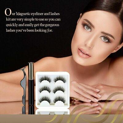 Magnetic Eyeliner Liquid & Lashes Kit - Set of 3 Mink Eyelashes Natural Long UK 2