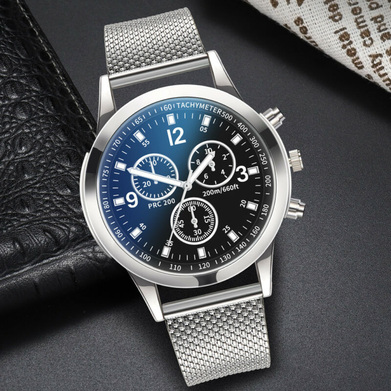 Men's Military Watches Analog Quartz Stainless Steel Big Dial Wrist Watch Gift 8