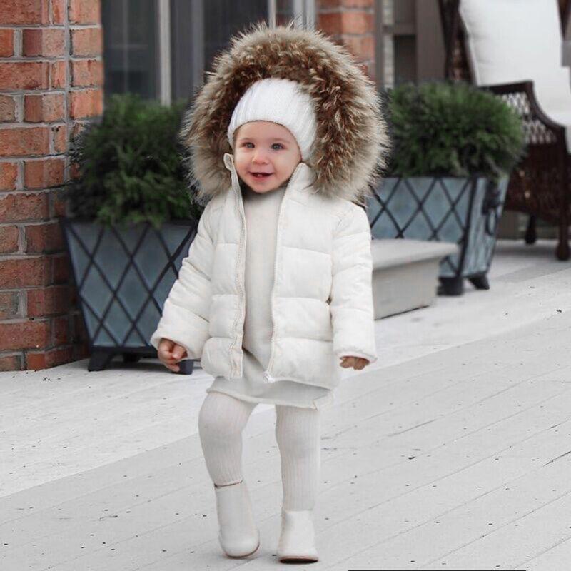 New Kids Baby Toddler Boy Girl Winter Warm Coat Faux Fur Hooded Jacket Outerwear 2
