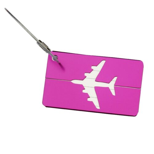 Étiquette Bagages Luggage Aluminium Porte Carte ID Nom Tag Valise Sac Voyage NF 5