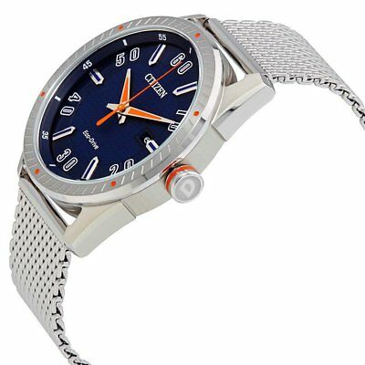 Citizen Eco-Drive CTO Men's Blue Dial Mesh Bracelet 42mm Watch BM6990-55L 3
