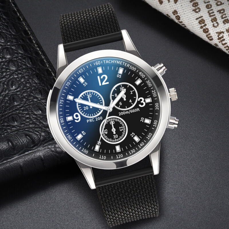 Men's Military Watches Analog Quartz Stainless Steel Big Dial Wrist Watch Gift 9
