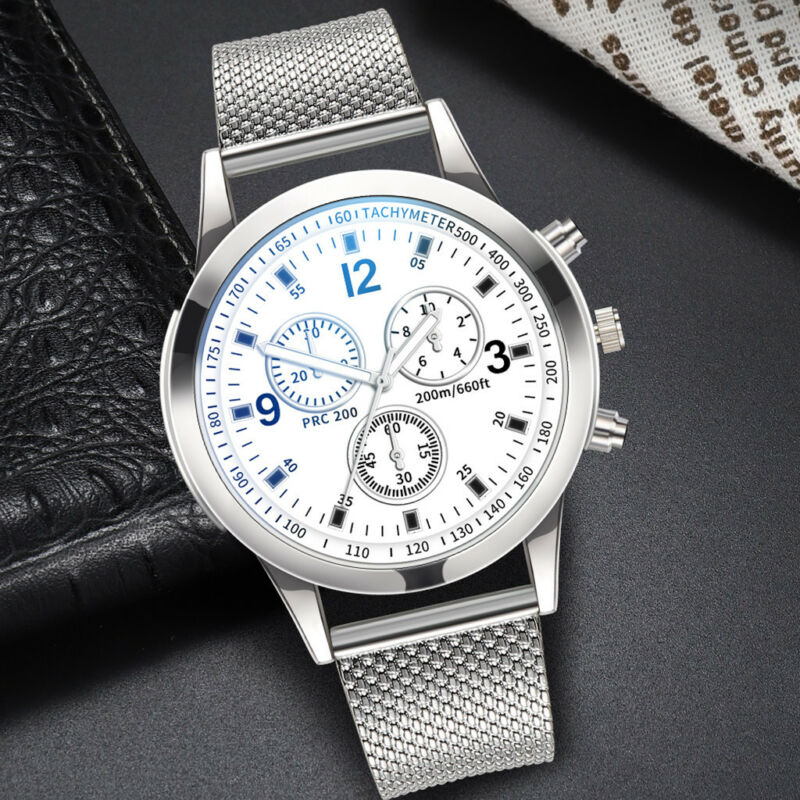 Men's Military Watches Analog Quartz Stainless Steel Big Dial Wrist Watch Gift 12