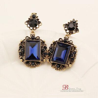 Boucles d/'Oreilles Clips Doré Pendant Carré Art Deco Noir Bleu Class Retro J6