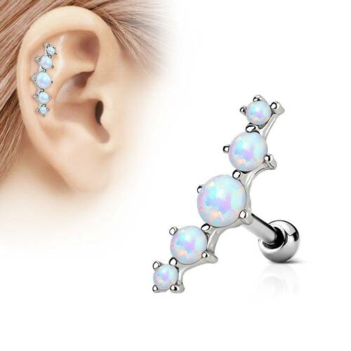 045a81579 Opal Top Ear Cartilage Helix Tragus Ear Stud Earring Bar Barbell Body  Piercing 2 2 of 8 See More