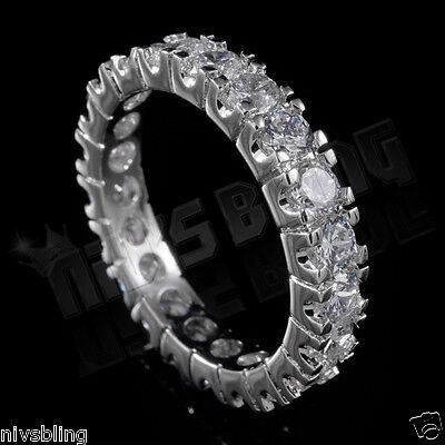 18K White Gold Lab Diamond Wedding Engagement Band Eternity Women Promise Ring 4