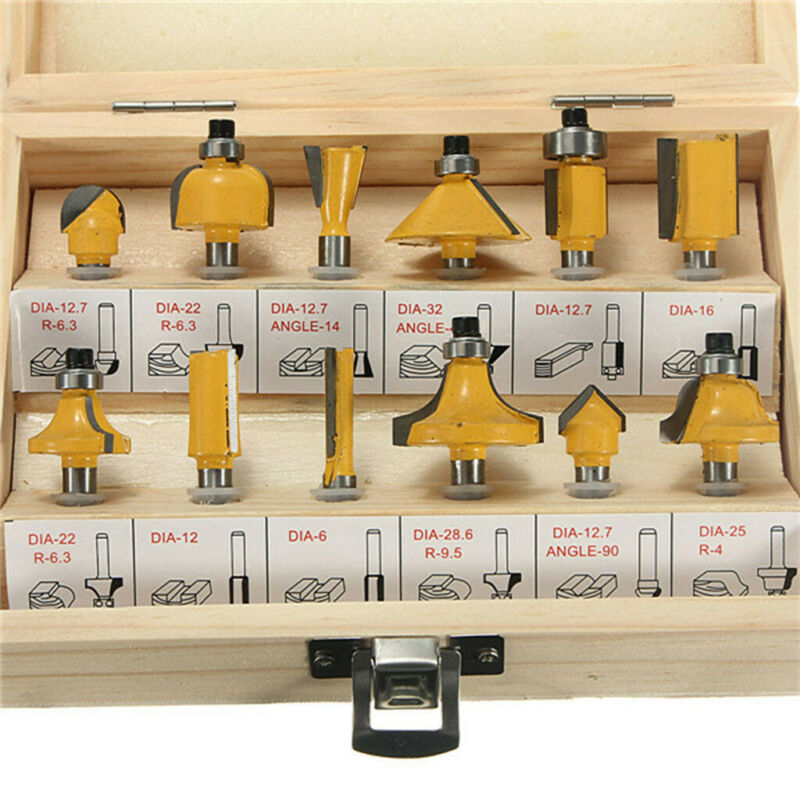 12X  1/4'' Professional Shank Tungsten Carbide Router Bit Set & Wood Box Case 4