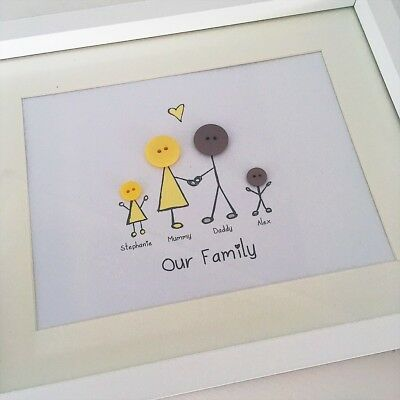 christmas Button Family Frame Button Picture Birthday Gift Button People