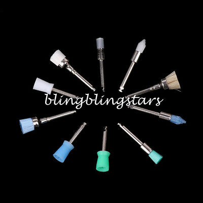 100Pcs Mixed Color Nylon Latch Flat Polishing Dental Prophy Brushes Cup Kit 4