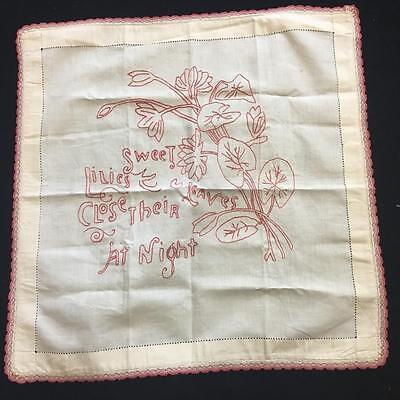Bed & Bath Linens Loyal Antique Redwork Embroidery Pillow Layover Set 2 Joyful Awakening Peaceful Sleep Antiques