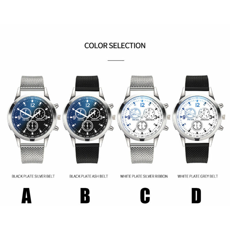 Men's Military Watches Analog Quartz Stainless Steel Big Dial Wrist Watch Gift 7