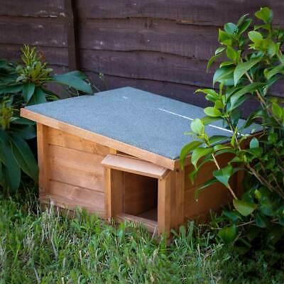 Predator Proof Hedgehog Hibernation Shelter Solid Wood Habitat Nest Box House 5