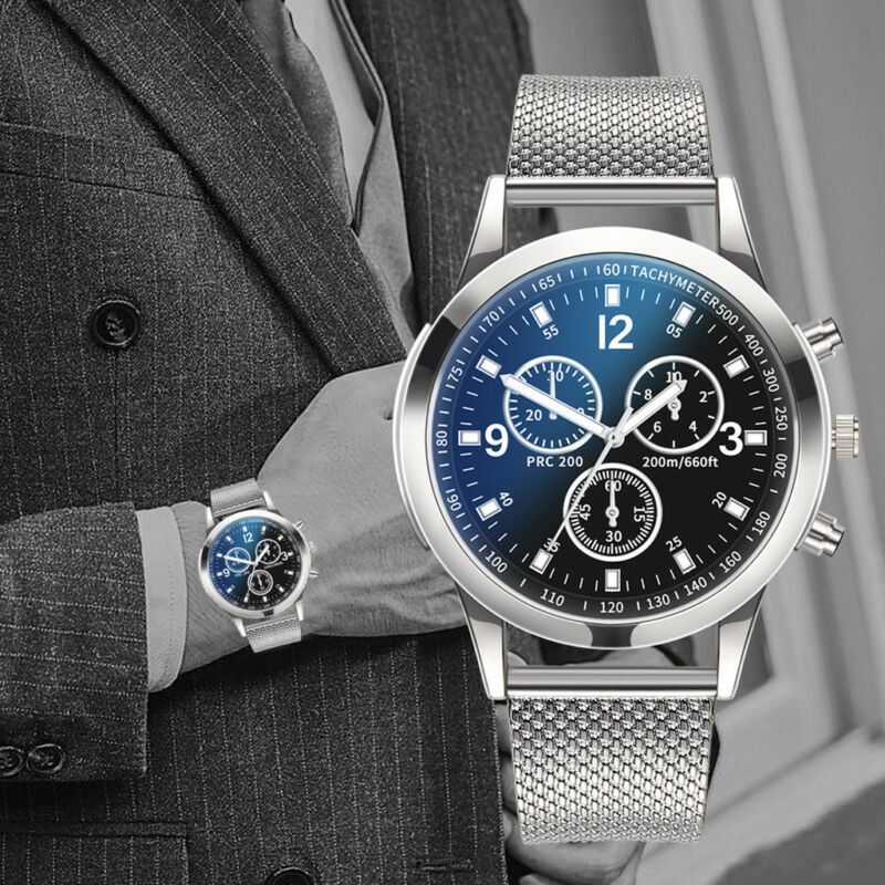 Men's Military Watches Analog Quartz Stainless Steel Big Dial Wrist Watch Gift 2