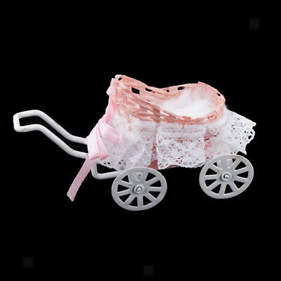 Metal Toy Pram Stroller Baby Doll Push Chair for Dollhouse Pretend Play Toys