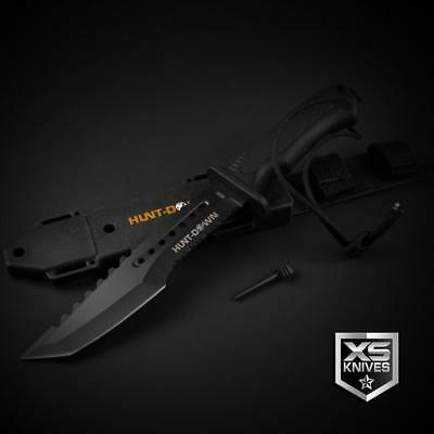 "Tactical BLACK Combat TANTO Survival FIRE STARTER Hunting Fixed Blade Knife 12"" 6"
