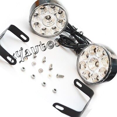 2x 9LED Round Daytime Driving Running Light DRL Car Fog Lamp Headlight White 4