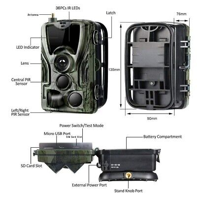 1080P Caméra de Chasse Caméra de Surveillance IR HD Nuit Vision GSM/MMS/SMTP/SMS 7