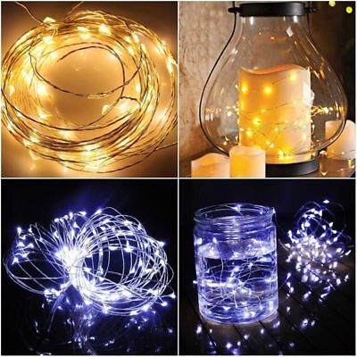 20/50/100 LEDs Battery Operated Mini LED Copper Wire String Fairy Lights 10M 7