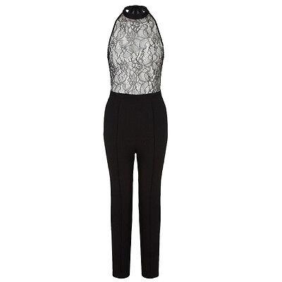 ... 3 di 5 Tuta pizzo donna elegante jumpsuit party nera overall party  rompers discoteca 4 d2ef07e2a01