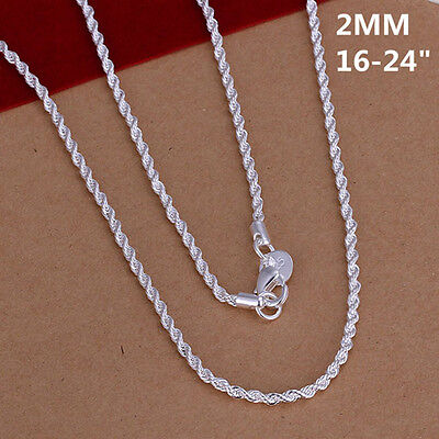 """16-32/"""" Silver 4mm Twisted Rope chain necklace for pendant 925 Snake Sterling T4S"""