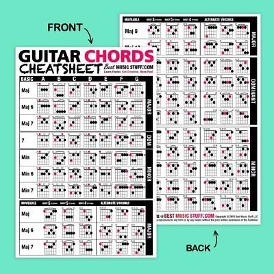 """Popular Guitar Scales Reference Poster 24""""x36"""" + Guitar Cheatsheets Bundle 5"""