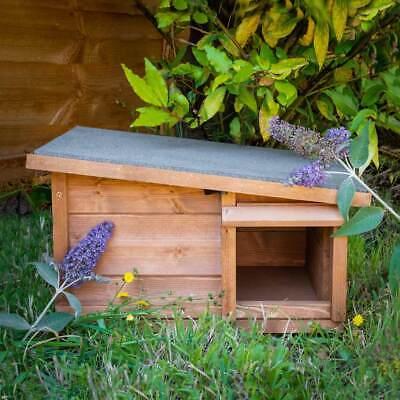 Predator Proof Hedgehog Hibernation Shelter Solid Wood Habitat Nest Box House 8