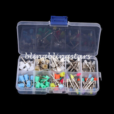 100Pcs Mixed Color Nylon Latch Flat Polishing Dental Prophy Brushes Cup Kit 2