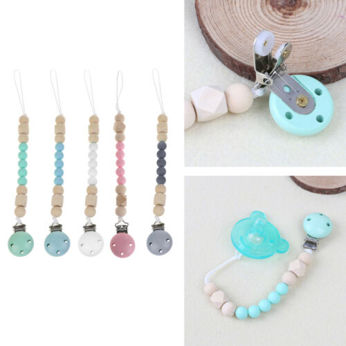 Candy Color Pacifier Clip Chain Holder Wood Silicone Beads Nipple Dummy Holder 2