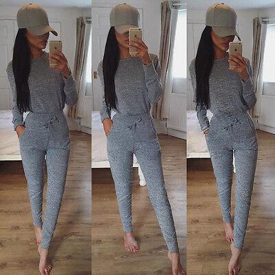 Womens Loungewear Set 2 Piece Sweatshirt Joggers Ladies Fine Knit Tracksuit Pant