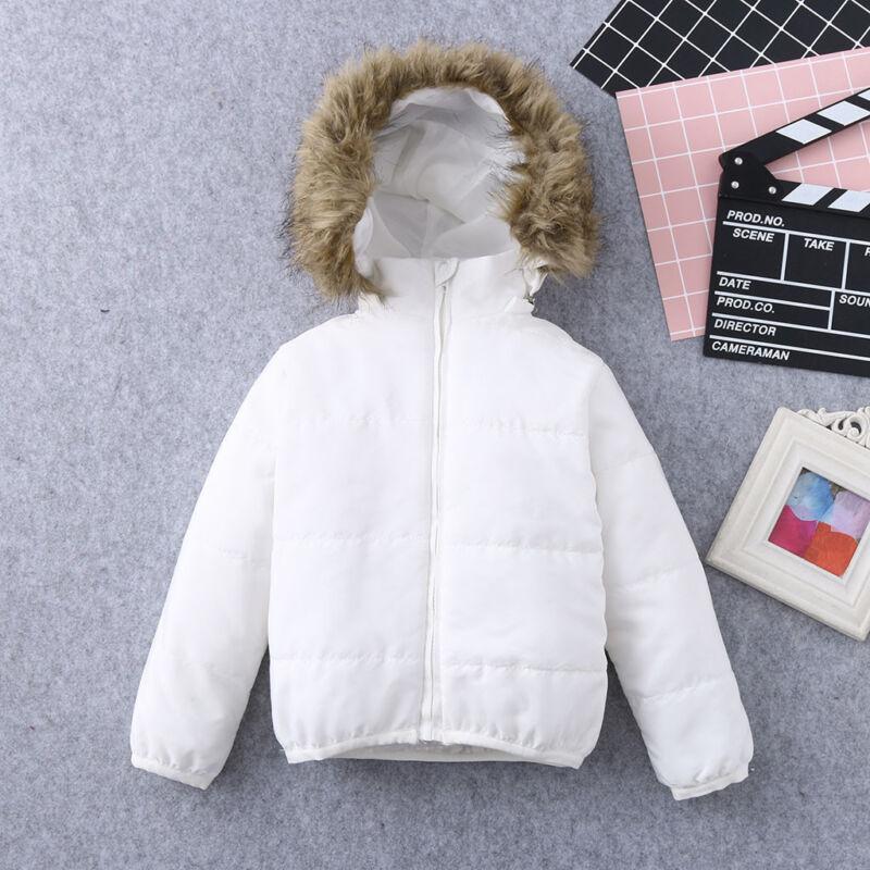 New Kids Baby Toddler Boy Girl Winter Warm Coat Faux Fur Hooded Jacket Outerwear 5