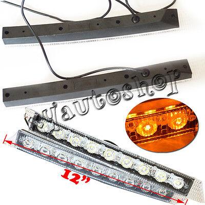 2x 9 LED Audi Style Daytime Running Light Day Fog Lamp DRL Amber Turn Signal 12V