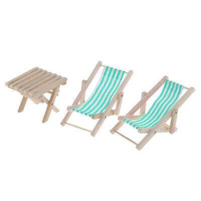 1:6 Dollhouse Miniature Blue Stripe Beach Chair & Table Set Life Scene Decor 2