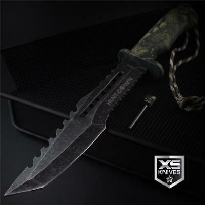 "Tactical STONEWASHED Combat CAMO Bowie Survival FIRE STARTER Hunting Knife 12"" 10"