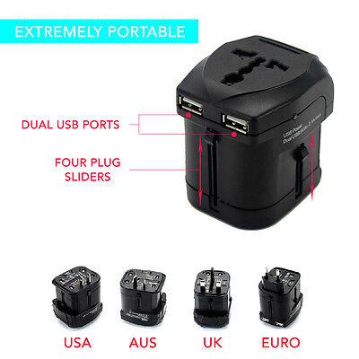 Universal Travel Adapter Dual 2 USB Wall AC Power to AU EU US UK International 5