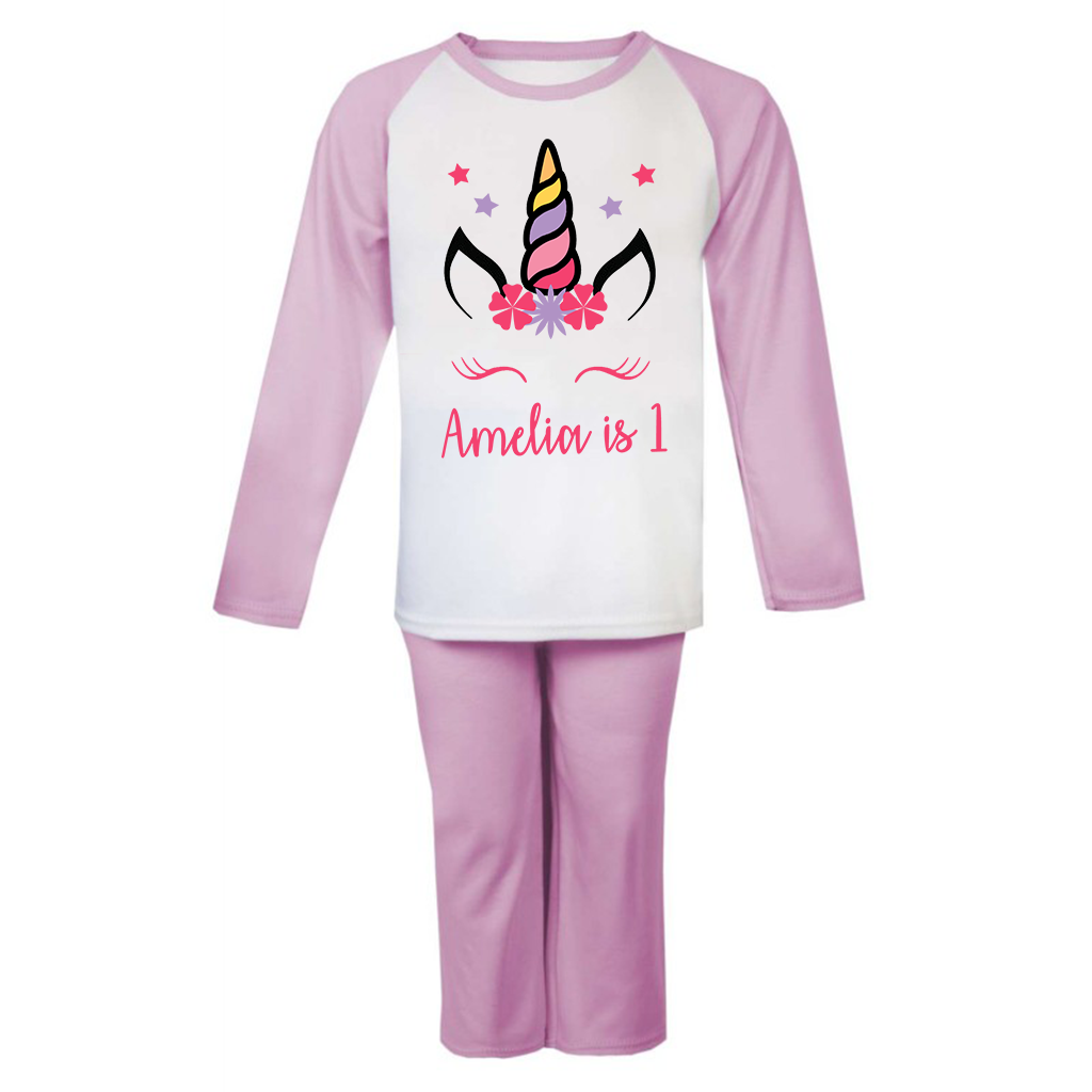 Personalised Unicorn Birthday Pjs Kids Pyjamas ANY NAME AND AGE Birthday Girl 4