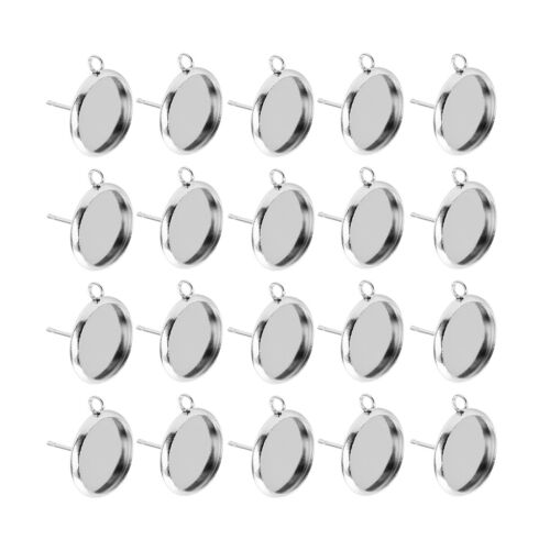 60x Metal Stud Earring Blank Cabochon Base Setting Tray with Loop 12/16/10mm 6