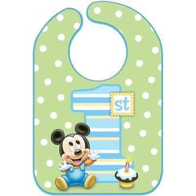 Baby Mickey Mouse 1st Birthday.Disney Baby Mickey Mouse 1st Birthday Bib Boy Green Polka