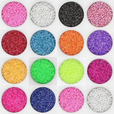 Czech 500Pcs 4mm Hole:2mm Round Colorful Glass Seed Beads DIY Jewelry Making