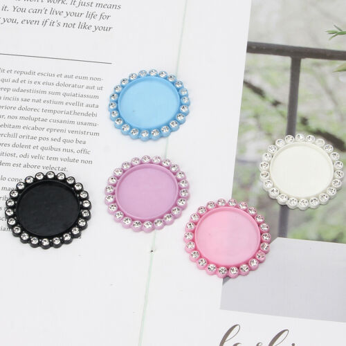 5Pc Round Resin Flatback Pendant Base Setting Crystal Cabochon Frame Jewelry DIY 4