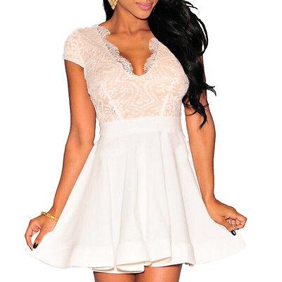 2f64667fe8c9 ... Abito donna pizzo nero svasato vestito cerimonia abito bianco elegante  skater 3